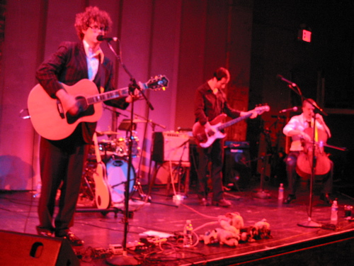 Lucinda Black Bear (Christian Gibbs, left) play a spirited show at the late, lamented Zipper Theater in Midtown Manhattan in September 2008.