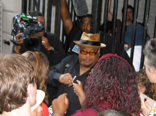 So glad he's not on Broadway: Stew and his adoring fans after the final Broadway performance of <i>Passing Strange</i> on July 20, 2008. (Photo by SPM, all rights reserved.)