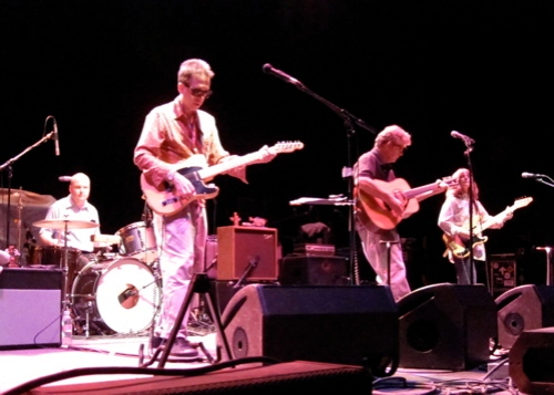 The Feelies, from left, Stanley Demeski, Glenn Mercer, Bill Million and Brenda Sauter, at the Wellmont Theater, Montclair, N.J., on New Year's Eve 2008. (Copyright Steven P. Marsh)