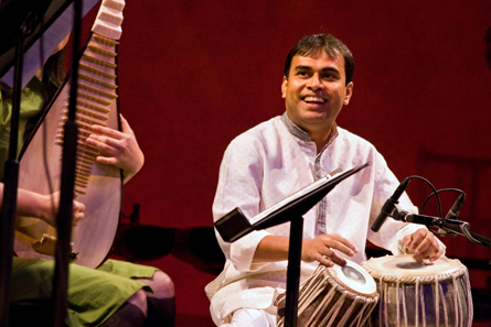 Sandeep Das on tabla, who doesn't read Western musical notation, stayed locked in with his fellow players like pipa master Wu Man. (Photo by CMM)