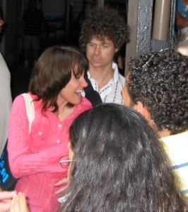 Heidi Rodewald greets fans outside the Belasco Theatre.