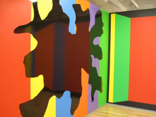 Sol Lewitt turned to bright colors in his later wall drawings, like these on the third floor of the MASS MoCA exhibit.