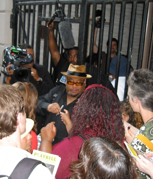 "Stew at the Belasco Theatre's stage door after the final performance of ""Passing Strange"" last summer. (Copyright 2008, Steven P. Marsh)"
