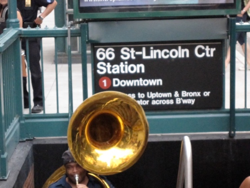 It came from underground: Asphalt Orchestra made its debut appearance yesterday by emerging from the subway station in front of Alice Tully Hall.