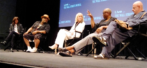 Heidi Rodewald, Stew, moderator Wendy Bounds, Bill T. Jones and Bjorn G. Amelan at Summer Scoops Live last night. (Copyright 2009, Steven P. Marsh)