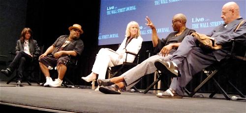 Heidi Rodewald, Stew, moderator Wendy Bounds, Bill T. Jones and Bjorn G. Amelan at Summer Scoops Live last night. (Copyright 2009, Steven P. Marsh)