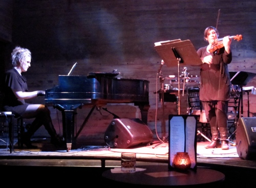 Nadia Sirota performs OMFG with the composer, Our Lady J, on the piano at Galapagos last night. .