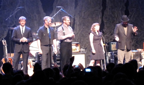 The Decemberists getting ready for their lottery challenge at NYC's Terminal 5 last night. (Copyright 2009, Steven P. Marsh)