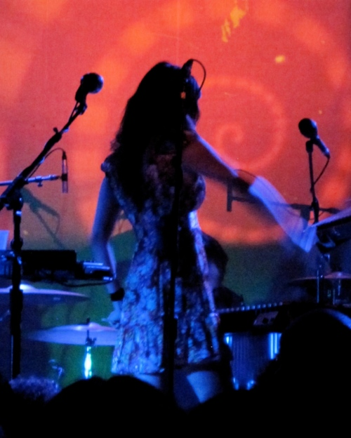 Hope Sandoval stays cloaked in darkness on the Music Hall of Williamsburg stage.