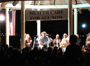The crowd crowded the stage for a glimpse of Pete Seeger.