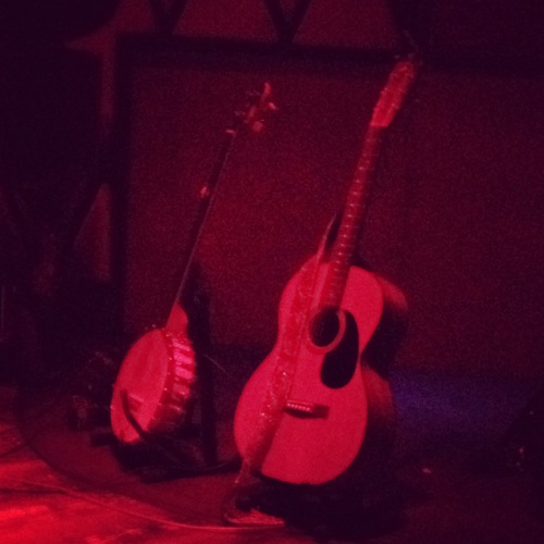Banjo and guitar onstage before Sam Amidon's set at Rockwood Music Hall.