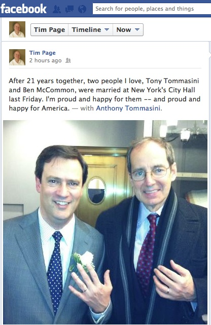 Screen grab from music writer Tim Page's Facebook pages with his post about Anthony Tommasini's wedding.