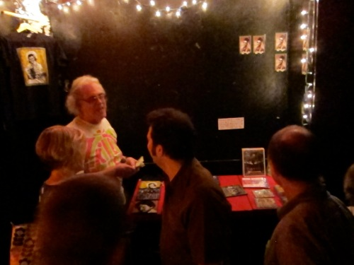 Dennis at the merch table for Jon Langford at Maxwell's. (Photo © 2013, Steven P. Marsh)