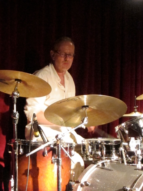 Steve Goulding on drums with the Jon Langford Threesome at Maxwell's. (Photo © 2013, Steven P. Marsh)