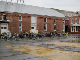 Rain on the MASS MoCA campus. (Photo © 2011, Steven P. Marsh)