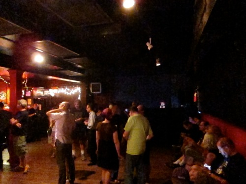 The crowd gathers in the back room at Maxwell's for the Jon Langford Threesome. (Photo © 2013, Steven P. Marsh)