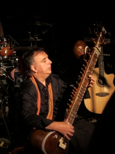 Sérgio Dias plays sitar at Maxwell's, Hoboken, N.J., on June 28, 2013.