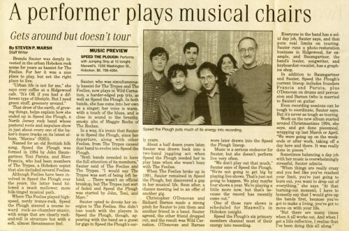An interview published Feb.16, 1996, in The Record of North Jersey, in advance of a Speed the Plough show at Maxwell's.