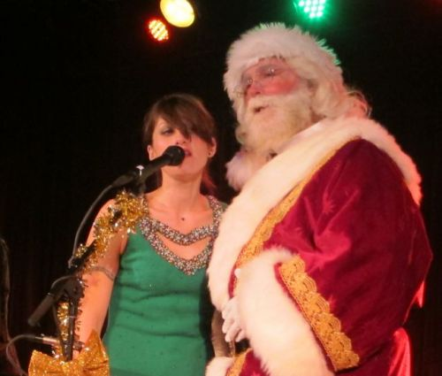 Sasha Dobson and Santa.