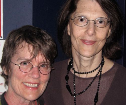 Terri Thal, right, poses with Terre Roche, of folksinging group The Roches, at the Gerde's Folk City's 50th Anniversary Live Music Reunion concert in 2010. (Photo © 2010, Steven P. Marsh)