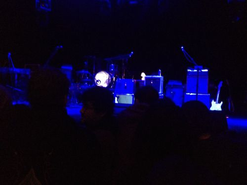 The hoi polloi weren't allowed to take photos of Neutral Milk Hotel during the performance, at the artist's request. So this image of the stage, set up for the band, is all I got. (© 2014, Steven P. Marsh)