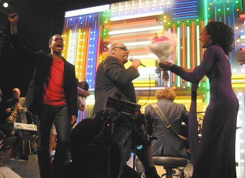 "Daniel Breaker, Stew, Christian Gibbs and Eisa Davis onstage at the final Broadway performance of ""Passing Strange."" (© 2008, Steven P. Marsh)"