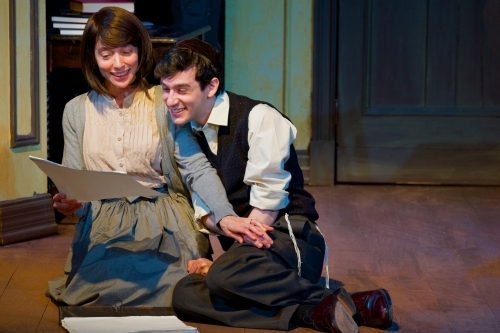 "From left: Naama Potok (The Women), Max Wolkowitz (Asher Lev) and Howard Pinhasik (The Men) in ""My Name is Asher Lev,"" at Penguin Rep Theatre."