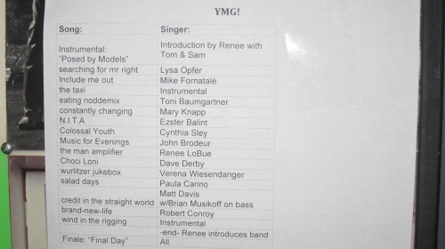The set list from the NYC Tribute to Young Marble Giants,