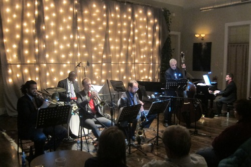 New York Jazzharmonic Trad-Jazz Sextet at Union Arts Center, Sparkill, New York, on Jan. 6, 2017. (Photo © 2017. Steven P. Marsh/willyoumissme.com)