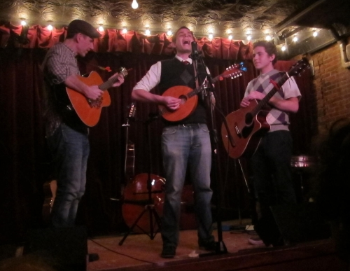 The Lords of Liechtenstein perform with Austin Hughes, left, of M. Shanghai, at Jalopy in Red Hook, Brooklyn, on Dec. 6, 2014. (Steven P. Marsh/willyoumissme.com)