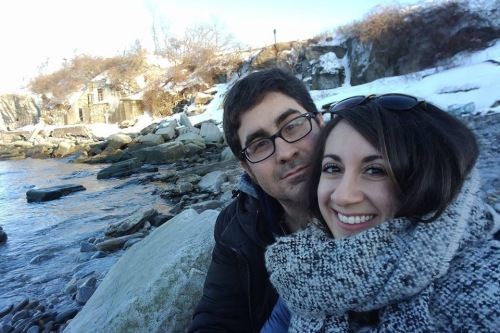 Composers Matt Marks and Mary Kouyoumdjian on a trip to Maine posted on her Facebook page.
